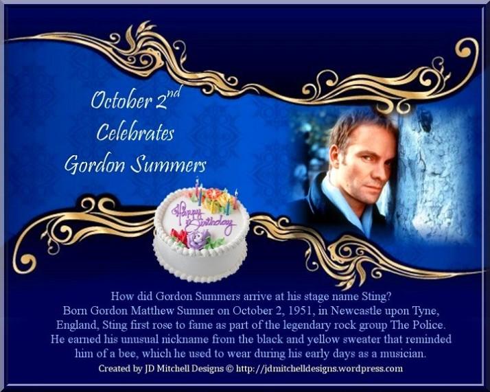 October 2nd Celebrates Gordon Summers