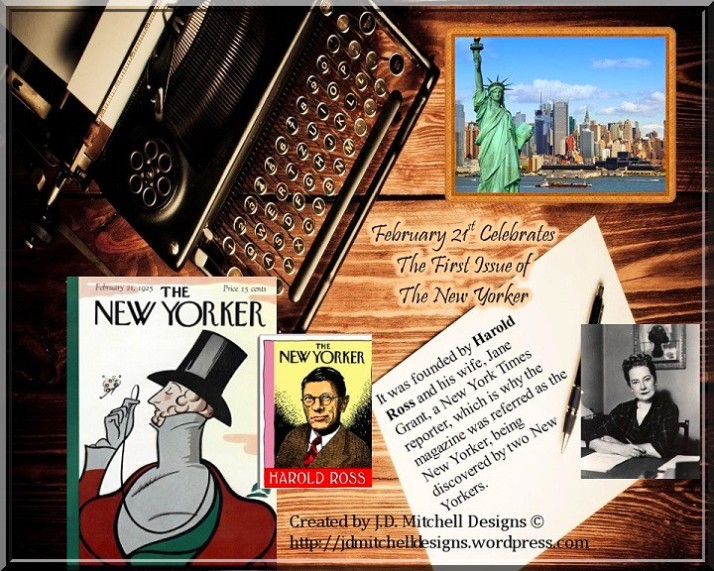 February 21st Celebrates The First Issue of The New Yorker